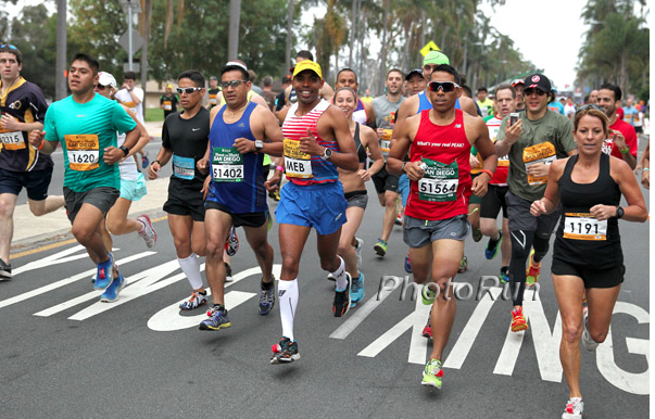 Mike is in this photo but Meb's head is almost completely blocking his! Look closely and you can see him!