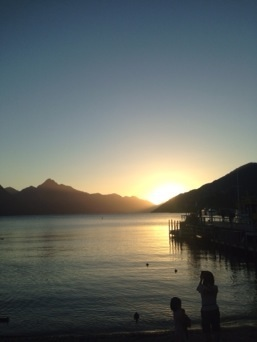 Sunset over the lake in Queenstown
