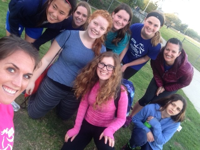 Selfie with my new Girls on Track team at our first practice!