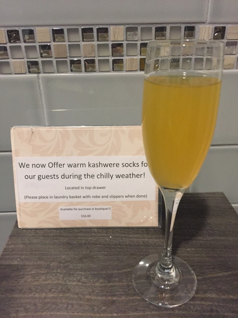 Of course I had my complimentary champagne cocktail before my birthday massage!